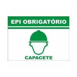 Placa de sinalzação de EPI – Capacete obrigatório